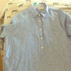 Denim, long sleeve, color washed, collared shirt